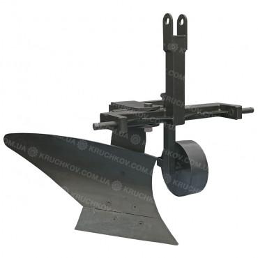 Плуг однокорпусный для минитрактора, усиленный (прицепное 3 точки, регулировка углового положения, винтовой отвал), (ПЛ13) (захват 25 см)